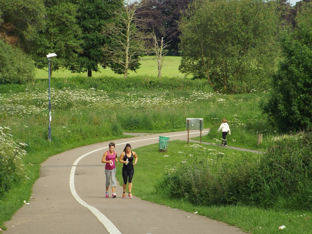 Jogging and talking and walking, Myton Fields, Warwick, 09:46