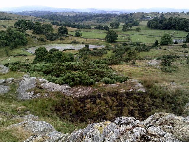 Borwick Fold Tarn from a nearby rocky knoll