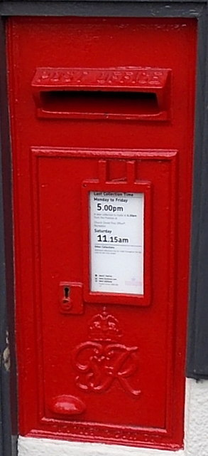 King George VI postbox in the post office wall, Market Bosworth