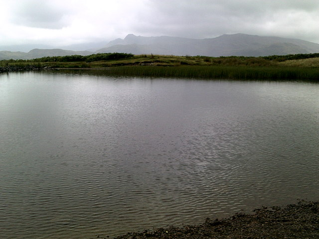 Rainy day at Alcock Tarn with the Langdale Pikes seen afar