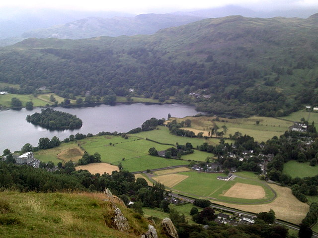 Overview of Grasmere - lake and village