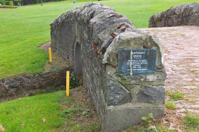 Plaque on the Centenary Bridge, Peebles Golf Course