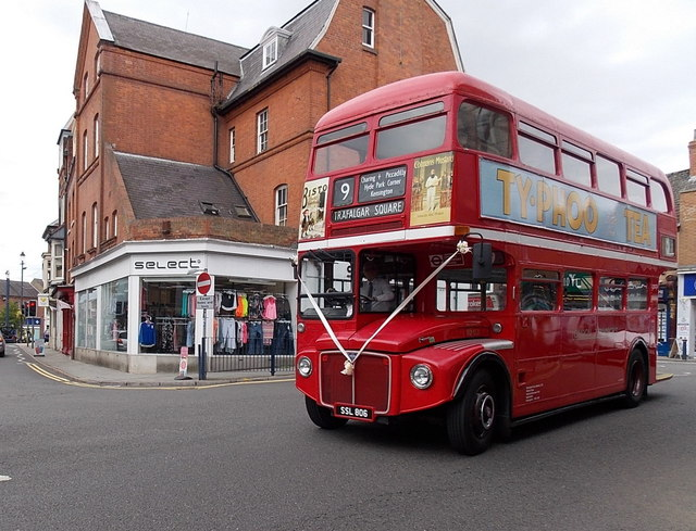 Red Routemaster bus in Melton Mowbray town centre