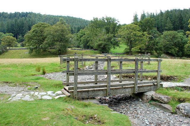 Footbridge along public path