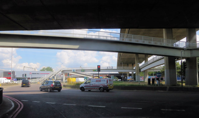 Under the A5 and A406 elevated intersection