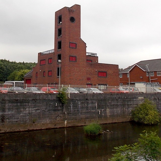 Riverside view of Merthyr Tydfil fire station tower