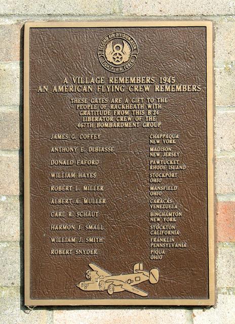 Memorial plaque to the Coffey Crew