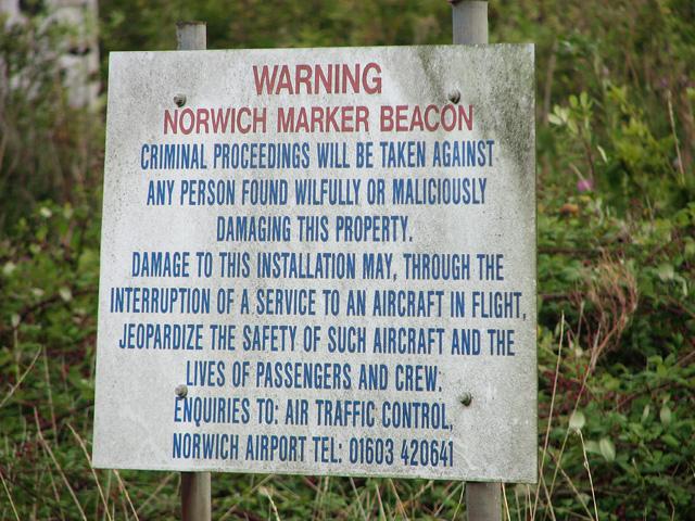 Norwich Marker Beacon site (sign)