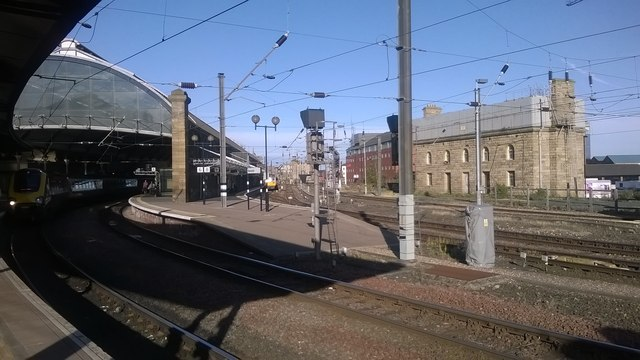 Newcastle Central station: avoiding lines and water-tank