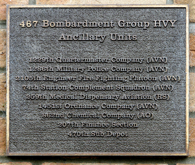 Plaque commemorating the 467th Bombardment Group HVY Ancillary Units