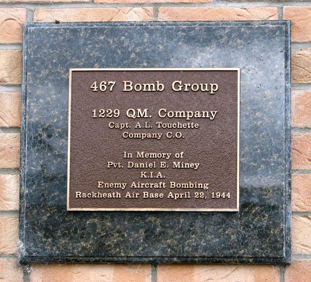 Memorial plaque to Private Daniel E Miney
