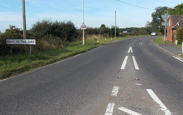 Bull in the Oak name sign near Cadeby