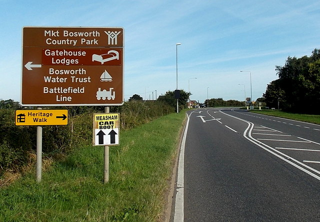 Visitor attractions sign north of Cadeby