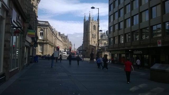 Newcastle: view up Grainger Street