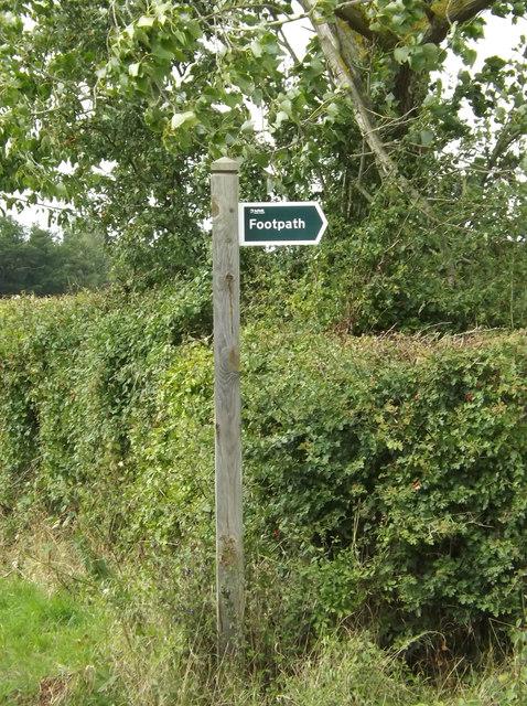 Footpath sign off the B1068 Sudbury Road