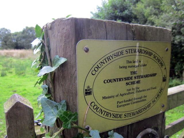 Countryside Stewardship Scheme sign at Bradley Green