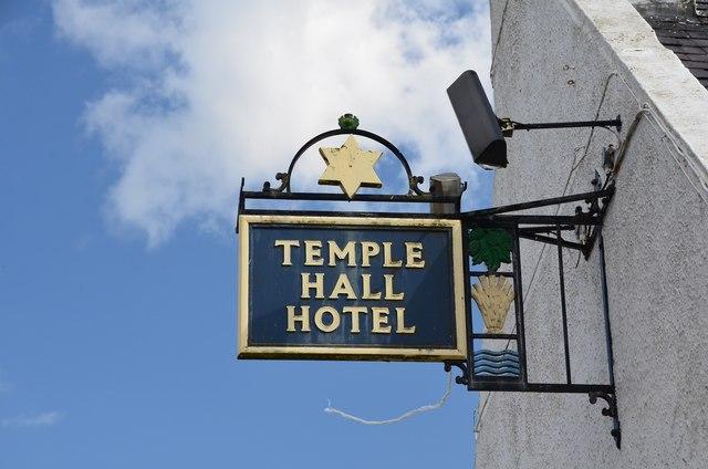 Temple Hall Hotel sign, Morebattle