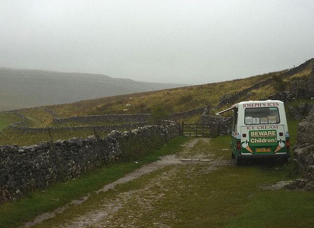 Ice cream van on a rainy day, Ingleton Waterfalls walk
