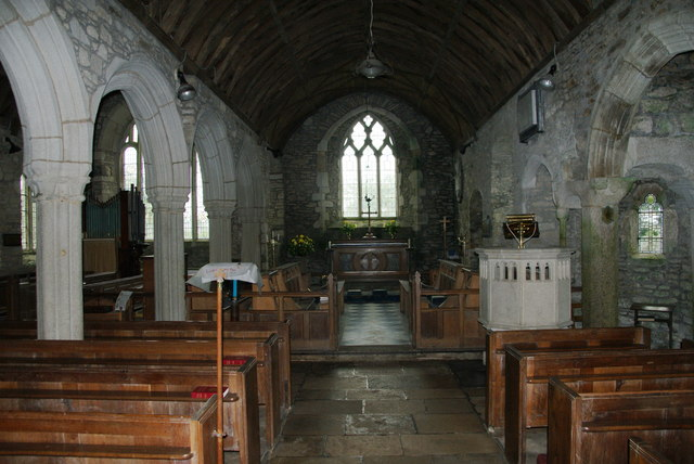 The interior of Mawgan Parish Church