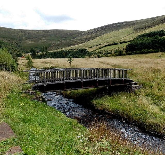 Wooden footbridge over a stream east of David Street, Blaengarw