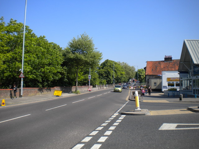 Riverside Road from the bottom of Rosary Road, Norwich