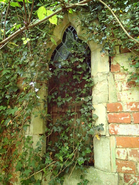 Window in ruined chapel at Broomfield