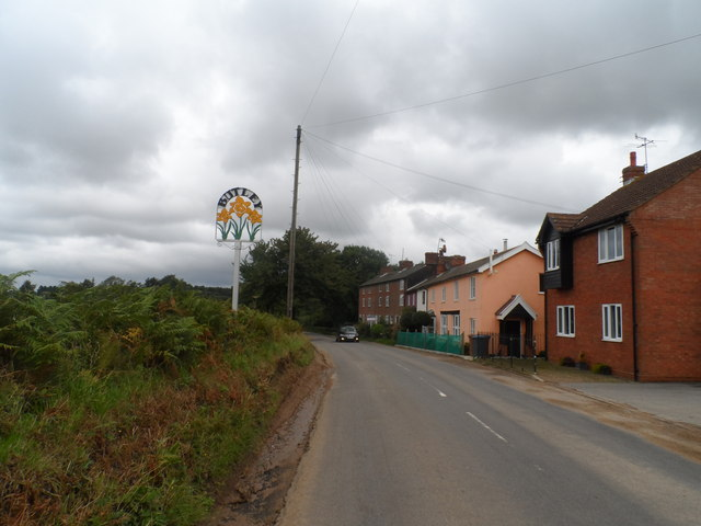 Butley, houses and village sign