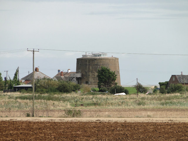 Martello tower at Shingle Street from Buckanay Lane