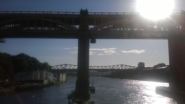Newcastle: High Level Bridge from the Swing Bridge, afternoon light