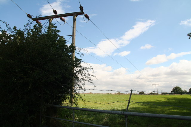 Field and powerlines next to Mount Gate Plantation