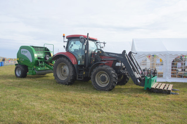 Tractor and baler at the Unst Show, Haroldswick