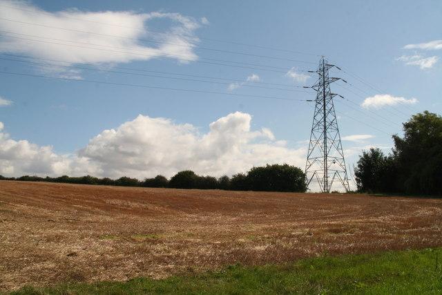 Pylon in a stubble field