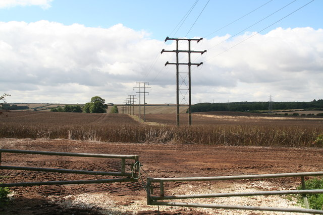 Pylons and powerlines emanating from the substation on the Gunnerby Road