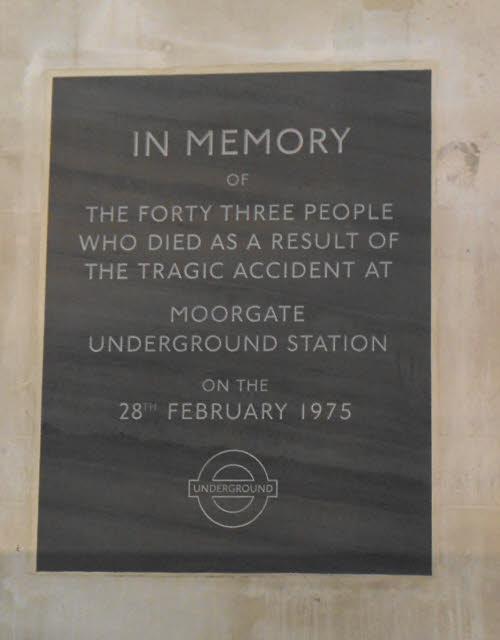Moorgate train crash memorial
