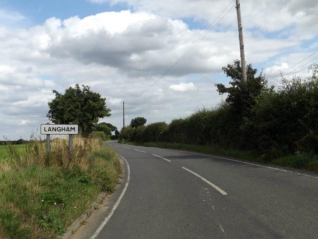 Entering Langham on Dedham Road