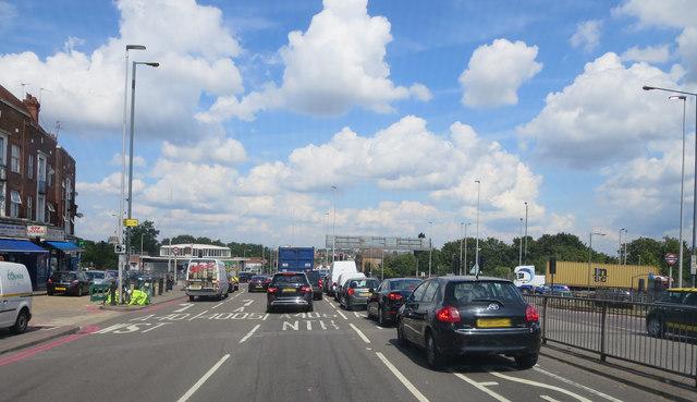 A406 enters the Hanger Lane Gyratory