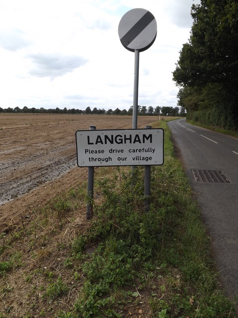 Langham Village Name sign