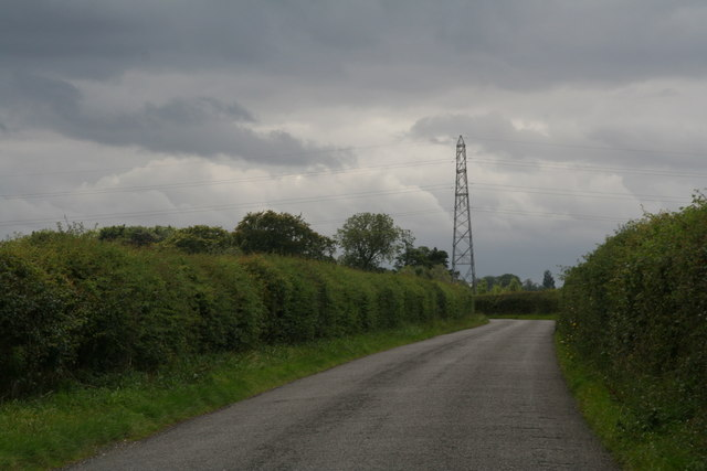 Powerlines and a stormy sky: road to Rothwell from Cuxwold