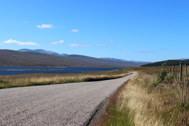 A838 westwards along Loch Shin