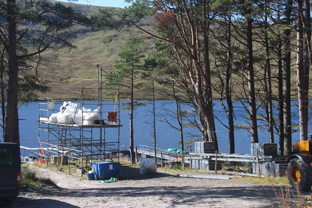 Salmon farming depot on Loch Merkland