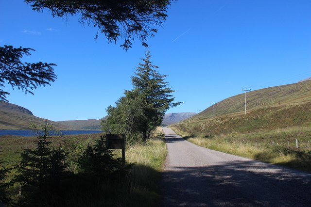 A838 leaves Merkland heading west