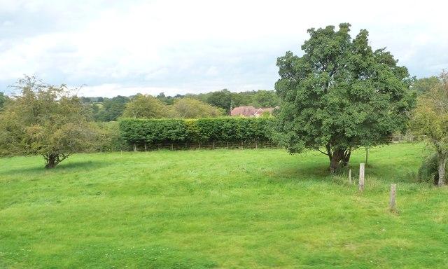 Farmland between a garden and a railway