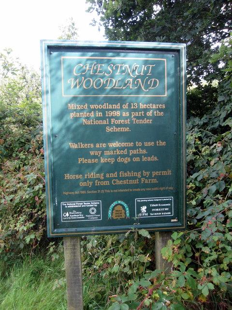Chestnut Woodland sign