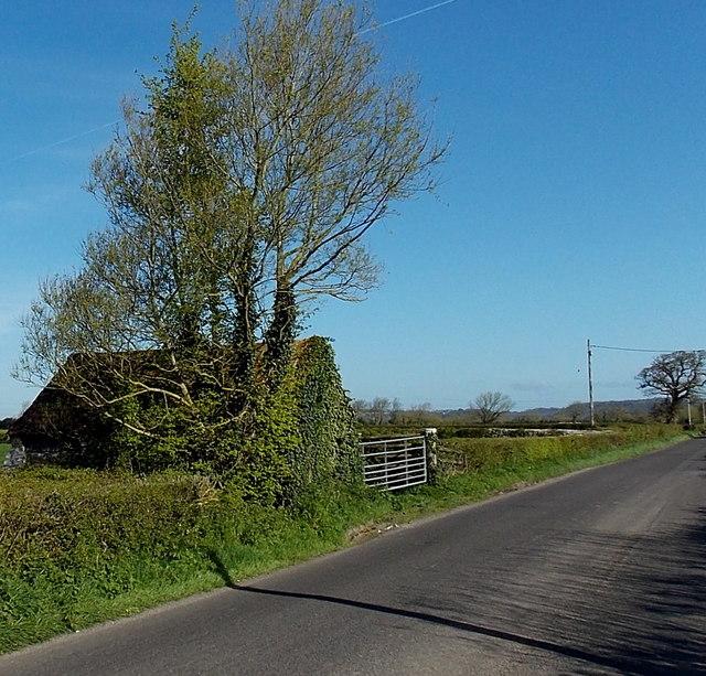 Ivy-clad farm building near Crossway Farm
