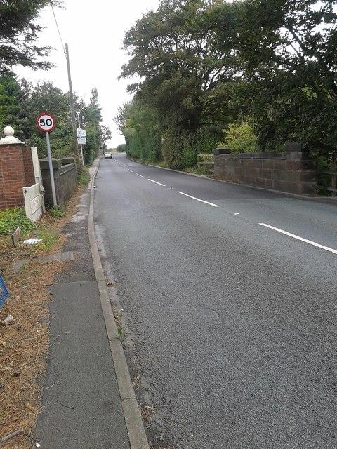 The B5197 road at Cunscough Bridge