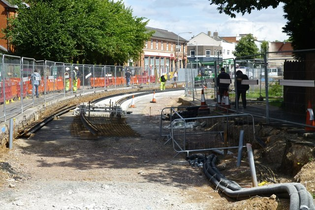 Tram track laying on Chilwell Road