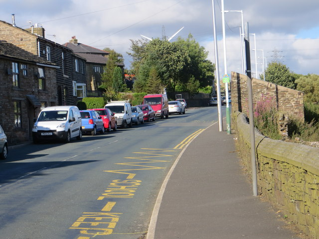 The A681 road at Sharneyford Infants School