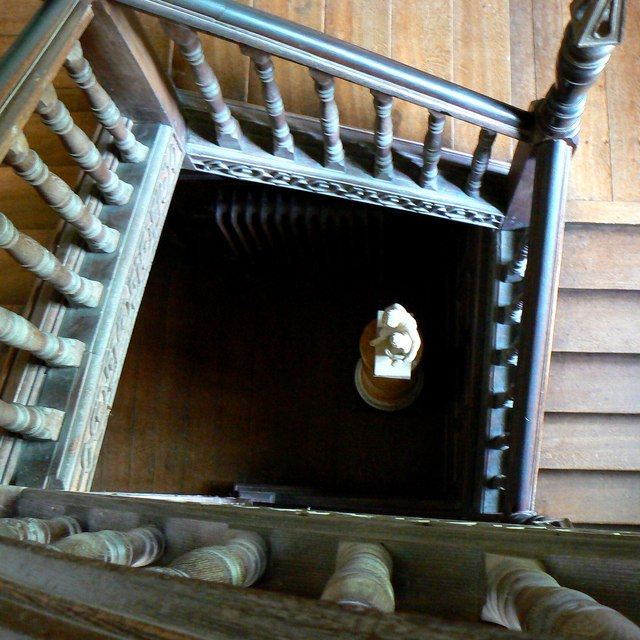A view down a staircase, Chastleton House, Chastleton, Oxfordshire