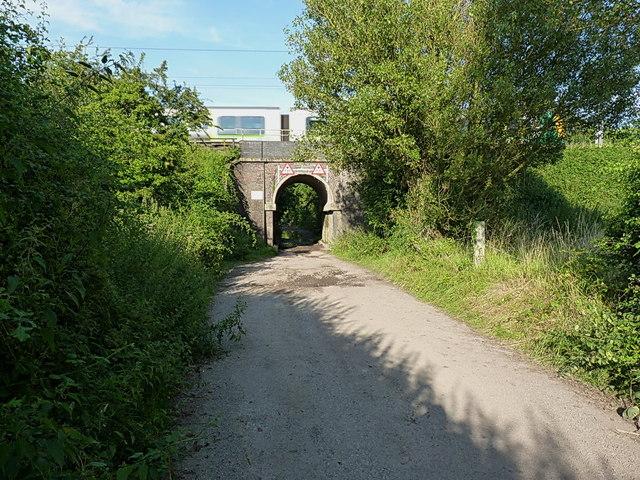 Train passes over the Aspley Farm bridge