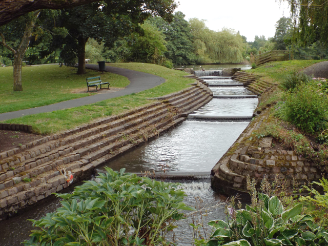 Outflow from lake in the form of a cascade, Elmdon Park